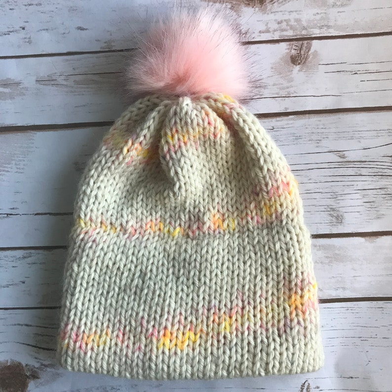 1b5823bffdc Adult Mohair Double Brim Knit Hat with Pink Faux Fur Pom Pom