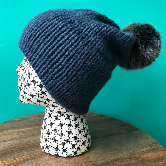637327f7767 Indigo Blue Double Brim Slouch Knit Hat with Faux Fur Pom Pom