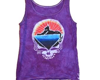 c607ba9a1e0e6d Women s Cats Down Under the Stars Jerry Garcia Handmade Batik Tank top