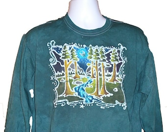 f2136efaab8 Adult Batik T-Shirt Tall Trees with a River and Mountains