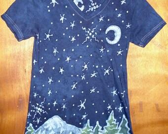 Women's Night Mountain Scene Batik Shirt