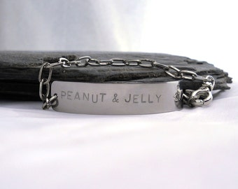 Men's Personalized Bracelet, Steel - Wide Silver Bar Bracelet - Name / Quotes / Phrase Jewelry - Personalized GIFT for HIM under 50