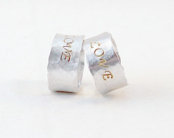 Hammered Silver Rings - Set of TWO Personalized Best Friends / Couples Rings