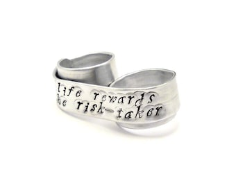 Life Rewards the Risk Taker Double Finger Ring - Custom Quote Ring - Personalized Quote Jewelry - Inspirational Message - Two Finger Ring