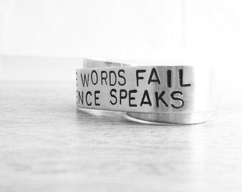 Custom Silver Double Finger Ring - Silence Speaks Two Finger Banner Ring