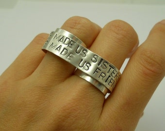 Custom Sterling Silver Double Ring - Personalized Two Finger Ring