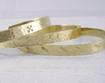 Personalized Cuff Bracelets - Set of 3 Hammered Gold Cuff Bracelets, Stacking Personalized Gift For Her, Unique Gift