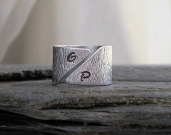 Bark Texture Men's Initial Ring // Asymmetrical Cuff Ring // Wide Silver Band // Personalized Men's Ring // Gift for HIM under 50