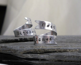 Sterling Silver Best Bitches Rings - Set of TWO Rings, Best Friend Jewelry - Unique Gift for Friends