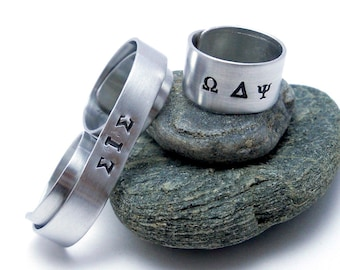 Hand Stamped Greek Ring - Personalized  Sorority Ring - Soul Sisiters / Sisterhood Two Finger Ring