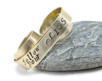 Gold Knuckle Ring, Two Finger Ring, Custom Banner Ring - Follow Your Bliss