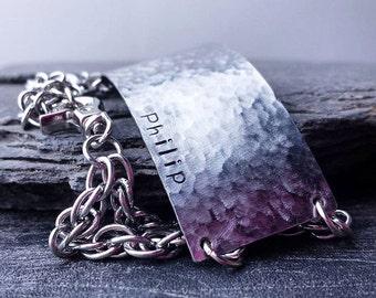 Rugged Men's Bracelet - Personalized Mens Wide Silver Bracelet - Steel Half Cuff Bracelet - Unique Gift for HIM under 50