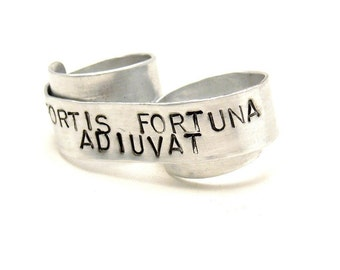 Custom Silver Two Finger Ring - Fortune Favors the Brave