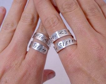 Custom Best Friends Rings - Set of TWO Personalized Best Friends Rings, Sterling Silver