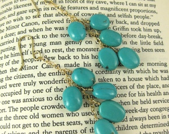 Sophie Bold Turquoise and Gold Filled Dangle Earrings Boho Bohemian Style