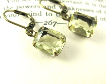 Beata Beatrix - Pale Yellow Vintage Swarovski Crystal Earrings