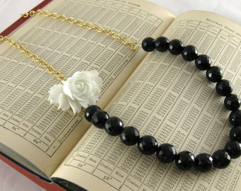 Film Noir Necklace Faceted Black Onyx Snow White Rose Chunky Brass Chain Statement Necklace