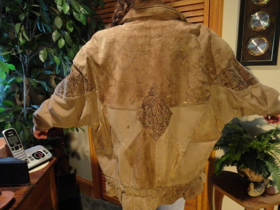 Batwing Leather Jacket, Beige Leather and Paisley