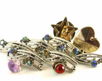 Ten Rhinestone and Silver Tone Thumbtacks Push Pins Vintage Thumbtacks Two Heart Push Pins 1 Star Push Pins Vintage Broken Jewelry