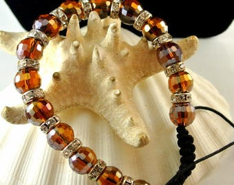 Amber Faceted Bead Bracelet Amber Bangle Vintage 1980 Bangle Amber Faceted and Rhinestone Beads 9 1/2 Inch Bracelet