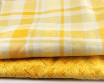 7bceb03a9d275 Yellow plaid fabric | Etsy