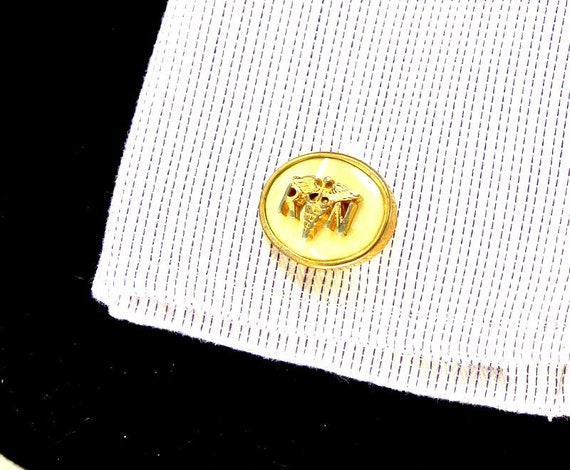 R N Caduceus Mother of Pearl Gold Tone Cuff Links