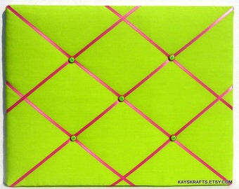 Watermelon Green and Hot Pink Memory Board Memo Board,   Fabric Bulletin Board, Ribbon Board, Photo Board, Pin Board, Teen Bedroom Decor