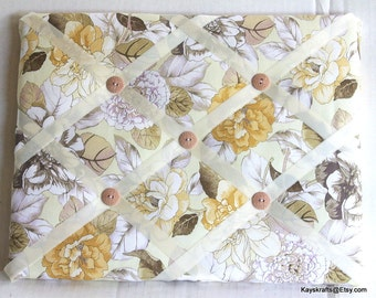 Beige Flowers Memory Board French Memo Board, Waverly Shades Of Brown Photo  Board, Ribbon