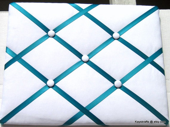 Turquoise Ribbon And White Memory Board French Memo Board Etsy