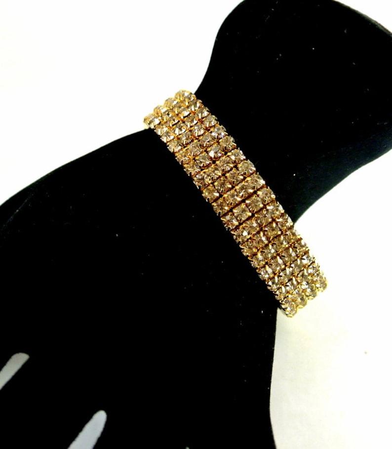 Rhinestone Gold Tone Stretch Bracelet 4 Row Rhinestone Gold Tone Bracelet Vintage 80 Bracelet Rhinestone Bangle