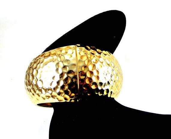 Hammered Gold Tone Clapper Cuff Bracelet Large Cuf