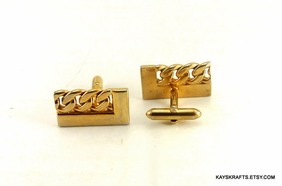Swank Gold Tone Rectangle Cuff Links with Five Balls Vintage Cuff Links Gold Tone Cuff Links Solid Cuff Links Tuxedo Accessory