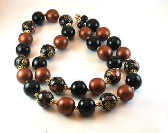 Cloisonne Bead Necklace, Cloisonne Rose Bead Necklace, Brown Black Beads, Long Strand Bead Necklace,Mid Century Necklace, Christmas Gift