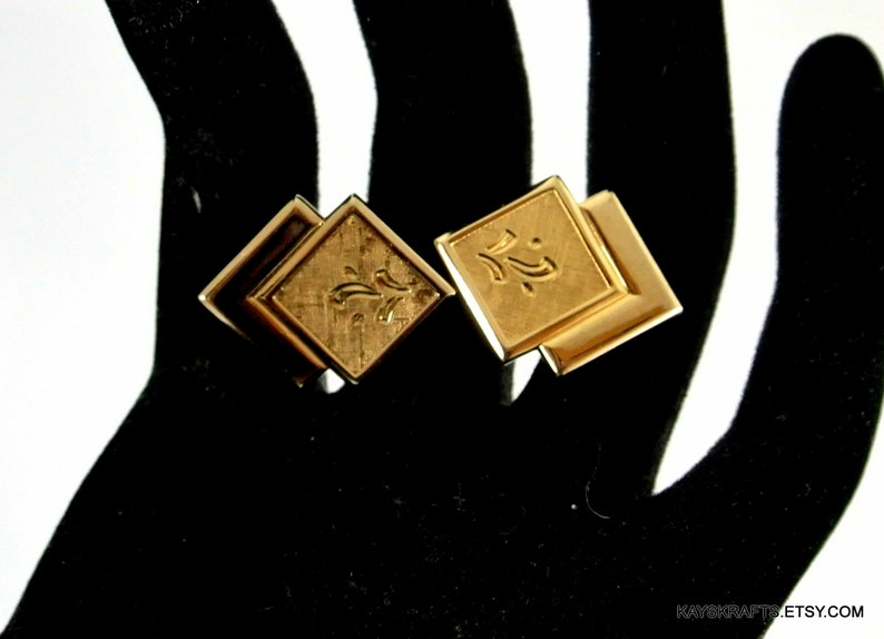 on sale Double Square Gold Tone Cuff Links Vintage Cufflinks Etched Square Cuff Links Stacked Square Cuff Links