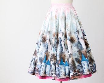 RESERVED Full Skirt 1950's Castle Fantasy Print Cotton