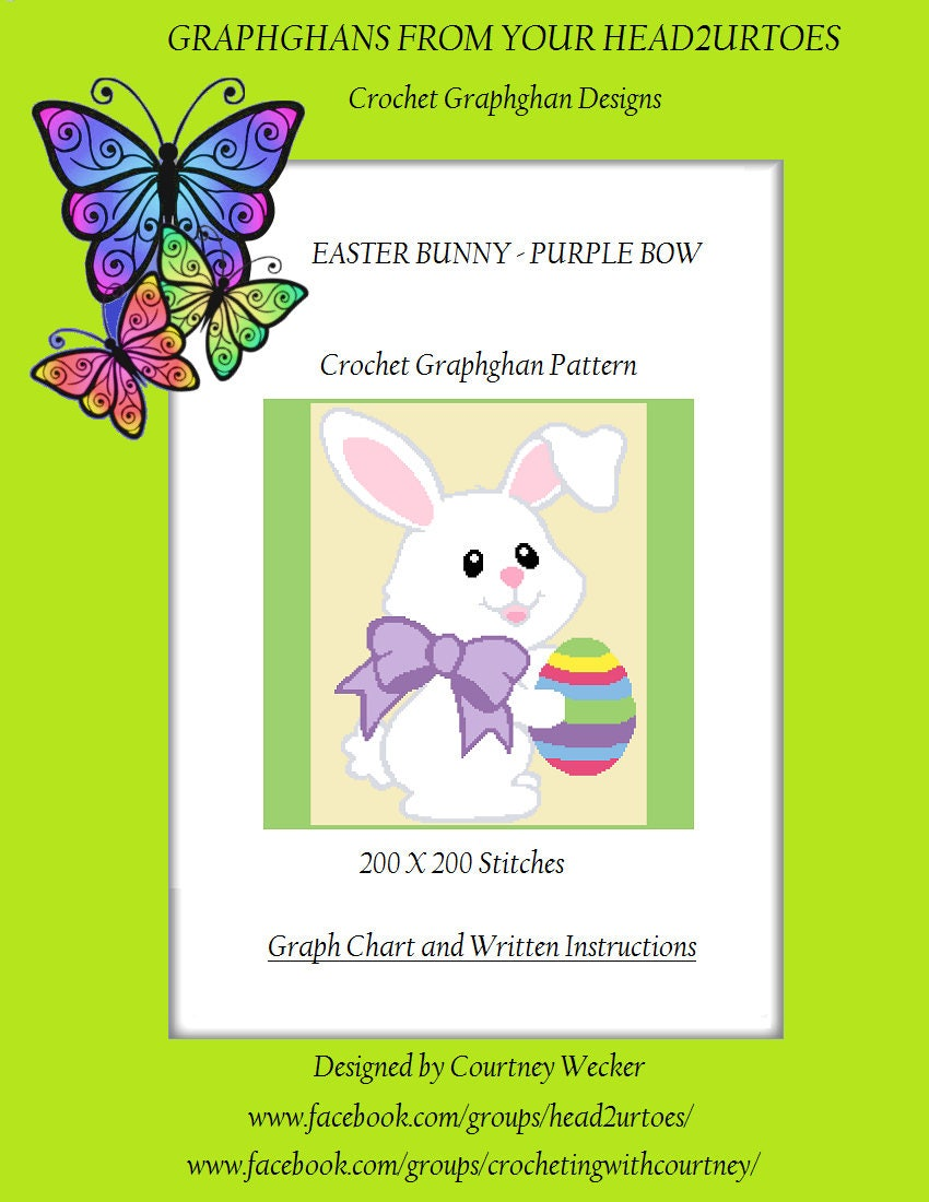 Easter Bunny Purple Bow Crochet Graphghan Pattern Etsy