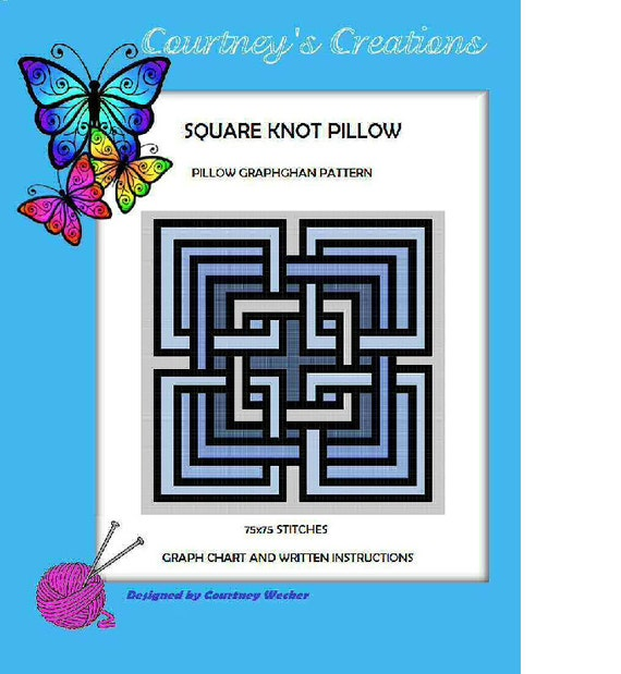 Square Knot Pillow Graphghan Pattern Etsy