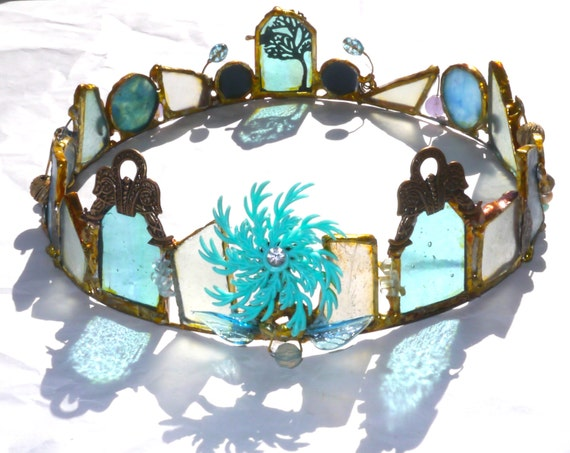 Faerie Crown -Water and Sky - One of a Kind Stained Glass Heirloom Piece- Bridal Tiara - Boho Wedding -Boho hair Accessories -