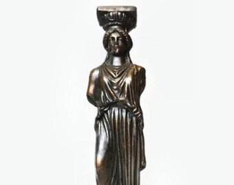 Vintage Grecian Bronze Metal Caryatid Statue, Greek Temple Porch of the Maidens Karyatis Souvenir, Lady Column Figurine, Karyatides