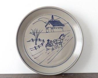 1996 Beaumont Pottery Stoneware Plate, Cobalt Salt Glazed Collector's Plate, Folk Art Winter Scene, Horse Drawn Sleigh & Church