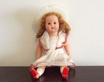 """Small Plastic Jointed Doll, Sleepy Eye 6"""" Girl Doll with Jointed Head Arms & Legs, Collectible Child's Toy"""