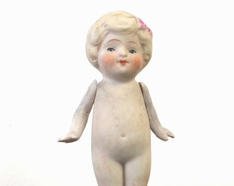 """Nippon Bisque Doll with Jointed Arms, Vintage 4 1/8"""" Porcelain Kewpie Style Flapper Girl, Collectible Toy Doll"""