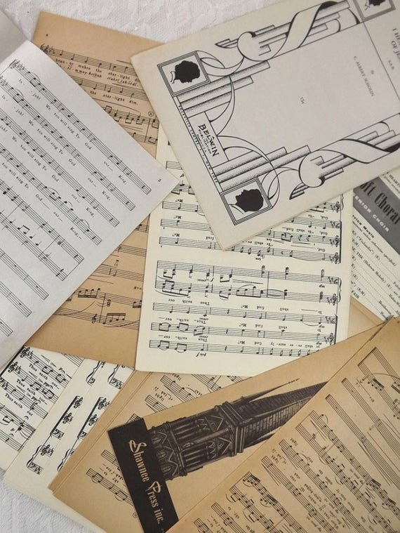 100 Vintage Sheet Music Pages For Diy Wedding Paper Etsy