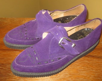 655933513dc Vintage 1990s RARE Purple Suede Creepers Made in England for Canadian  Market Size UK 8 USA 8 Mens Unisex Style Rockabilly Western Swing