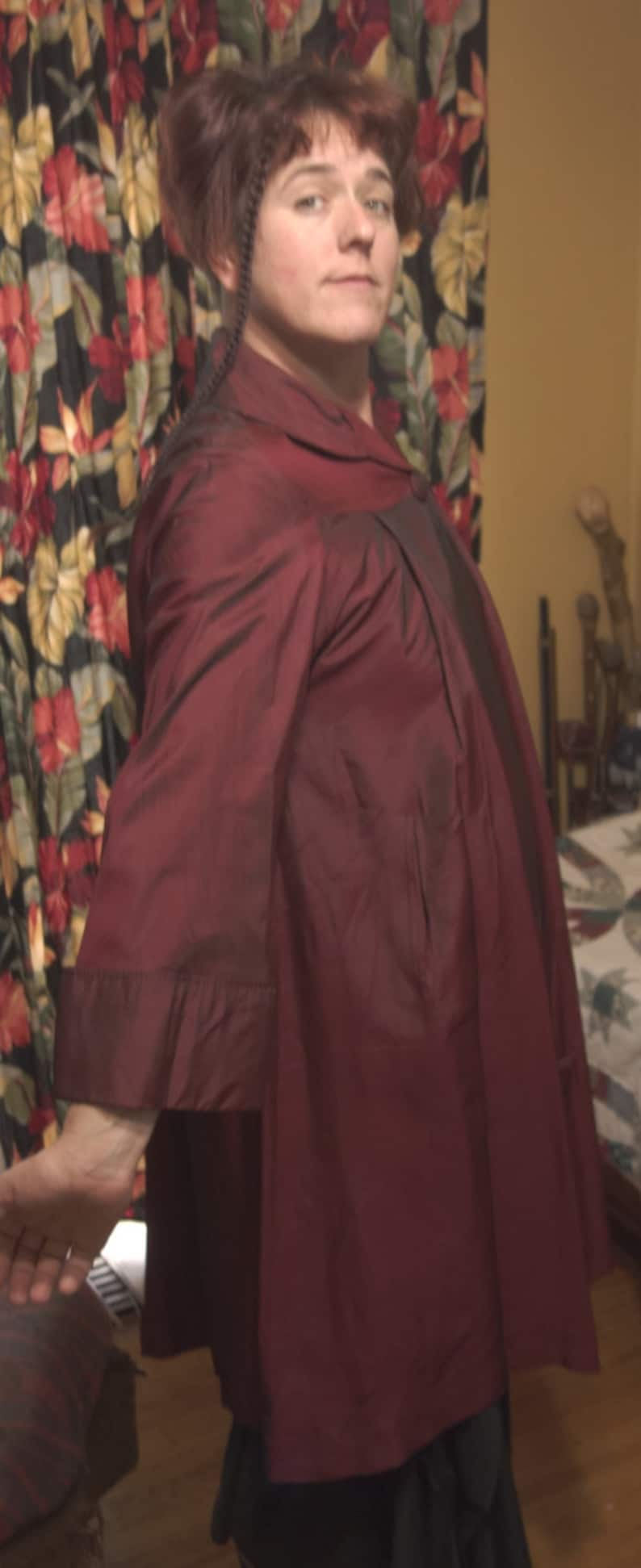 Large 40 Bust 1940s Vintage Red Acetate Rain Coat Swing Style by Addis Co of Syracuse NY Viva Las Vegas Pin Up Burlesque