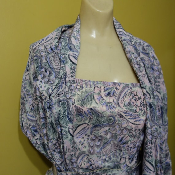 Small 1940s Vintage Pink Novelty Print Rayon Cockt