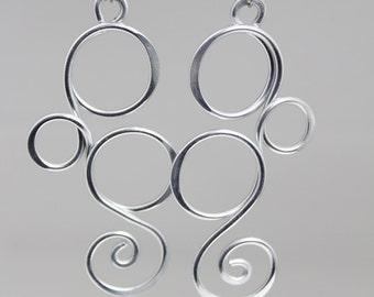 Long silver earrings, big silver earrings, funky silver earrings, funky earrings, lightweight earrings, hypoallergenic earrings, E30