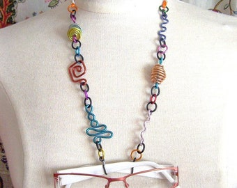 Multicolor Eyeglass Lanyard Necklace Chain Geometric shapes Aluminum Lightweight Fashionable Unique Stylish No. CL1