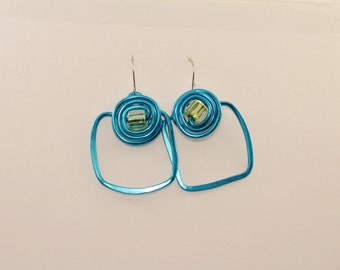 Big Square Hoop Earrings, Turquoise Earrings, Aluminum Earrings, Hoop Earrings, Square Hoop Earrings