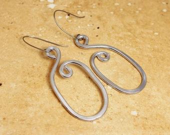 Long Oval Hoop Earrings, Hoop Earring, Oval Earring, Silver Oval Earrings, Comfortable Silver Earrings, Unique Earrings, Simple Earring, E55